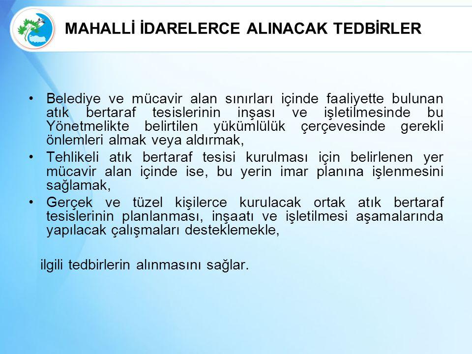 MAHALLİ İDARELERCE ALINACAK TEDBİRLER