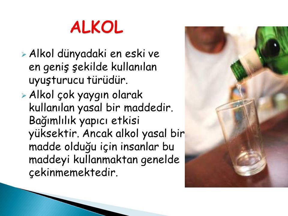 ALKOL Alkol dünyadaki en eski ve en geniş şekilde kullanılan