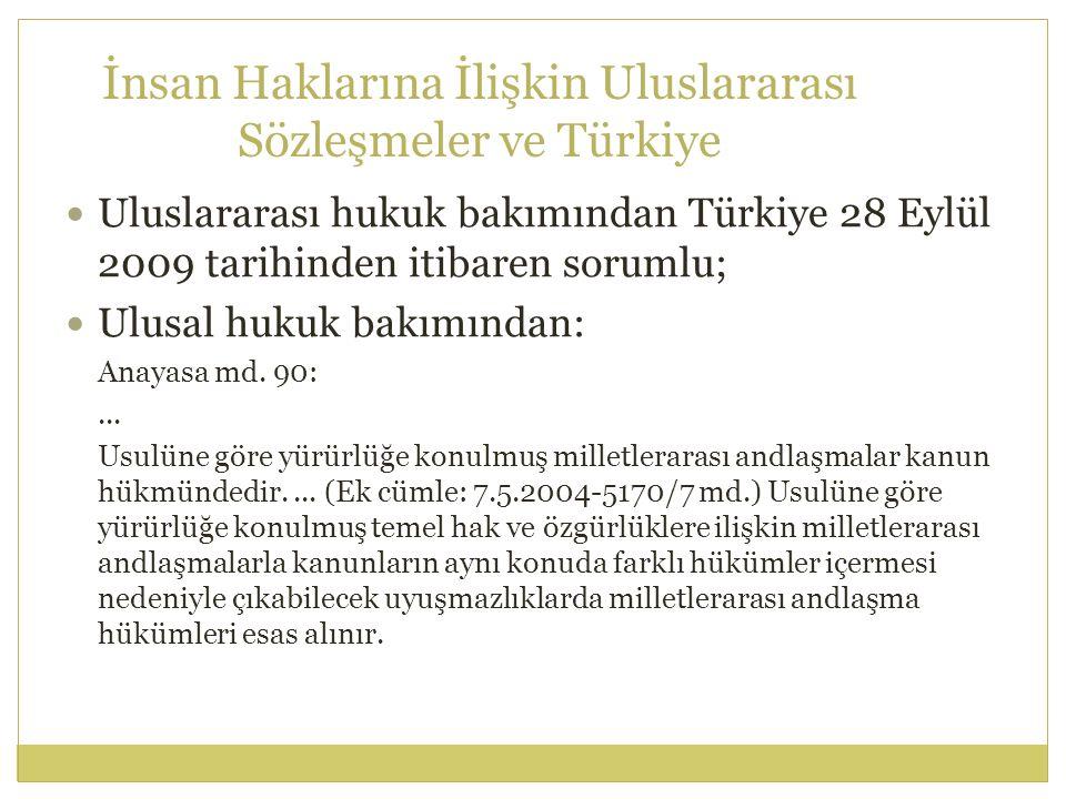 İnsan Haklarına İlişkin Uluslararası Sözleşmeler ve Türkiye