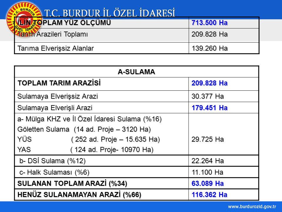 İLİN TOPLAM YÜZ ÖLÇÜMÜ 713.500 Ha. Tarım Arazileri Toplamı. 209.828 Ha. Tarıma Elverişsiz Alanlar.