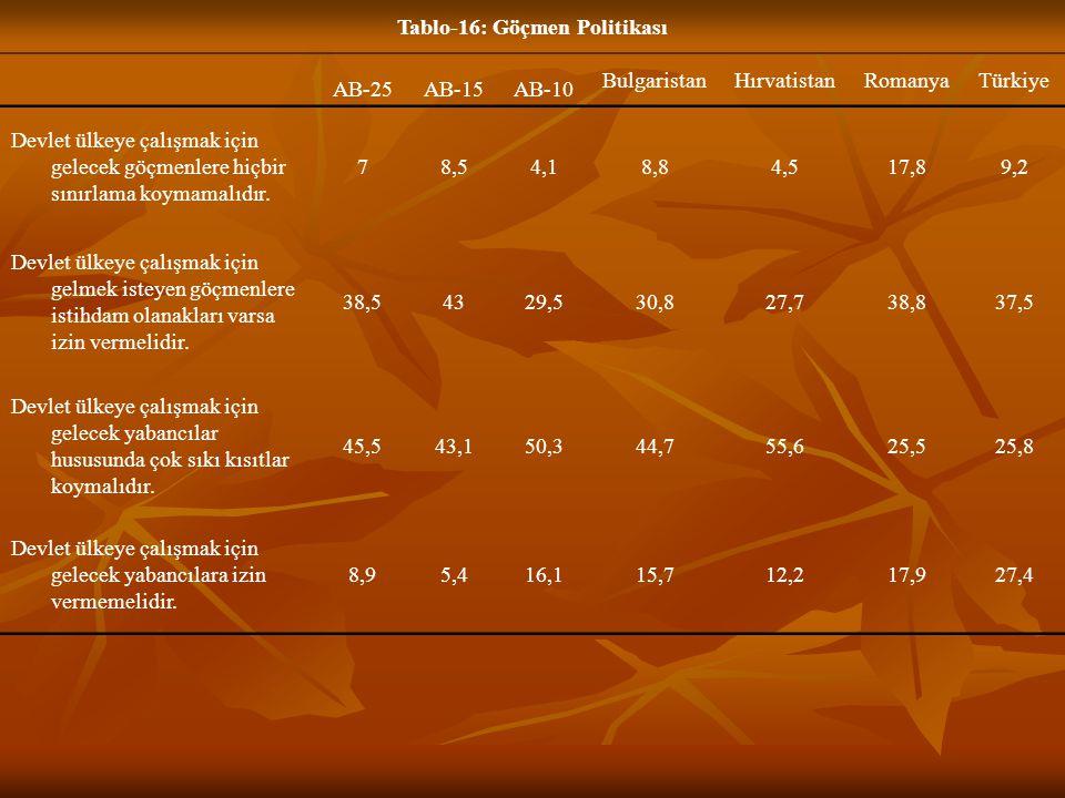 Tablo-16: Göçmen Politikası