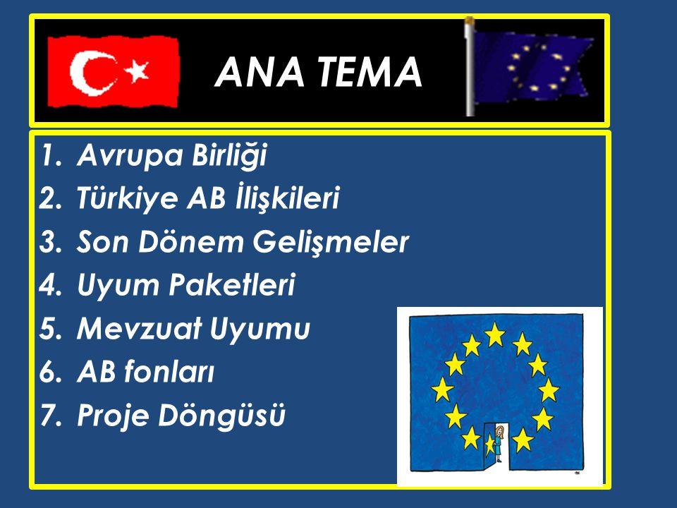 ANA TEMA Avrupa Birliği Türkiye AB İlişkileri Son Dönem Gelişmeler