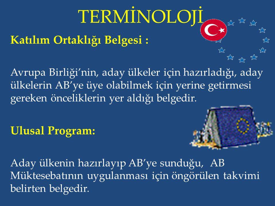 TERMİNOLOJİ Katılım Ortaklığı Belgesi : Ulusal Program: