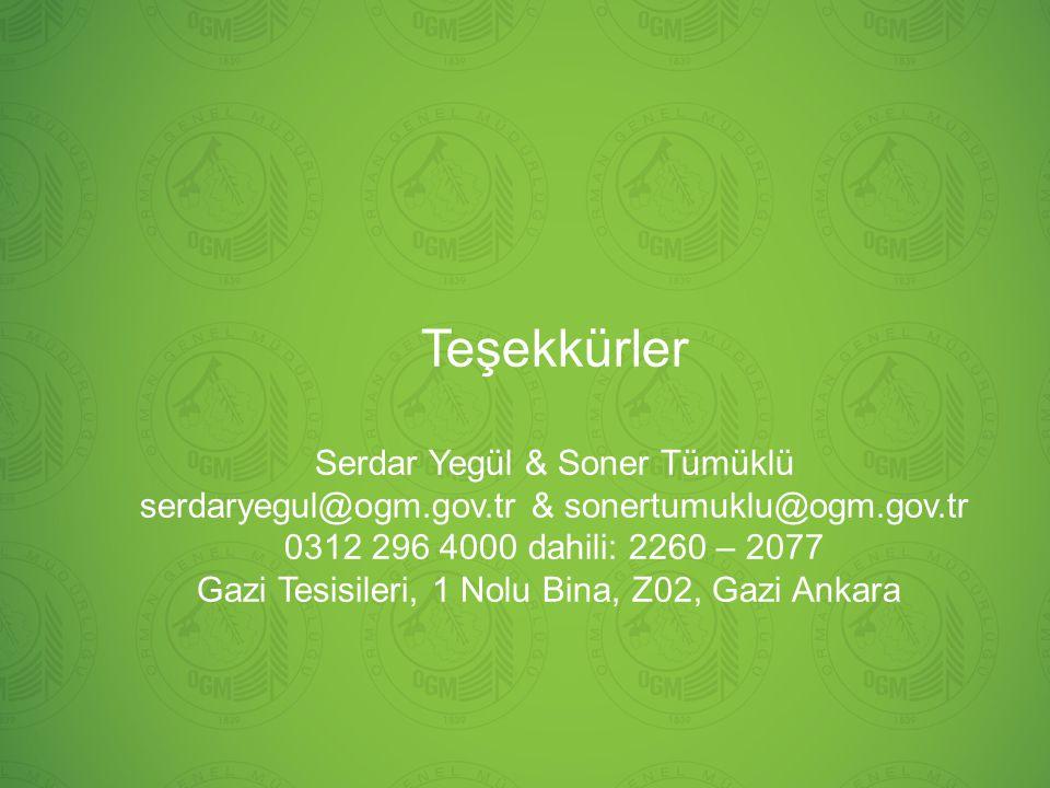 Teşekkürler Serdar Yegül & Soner Tümüklü