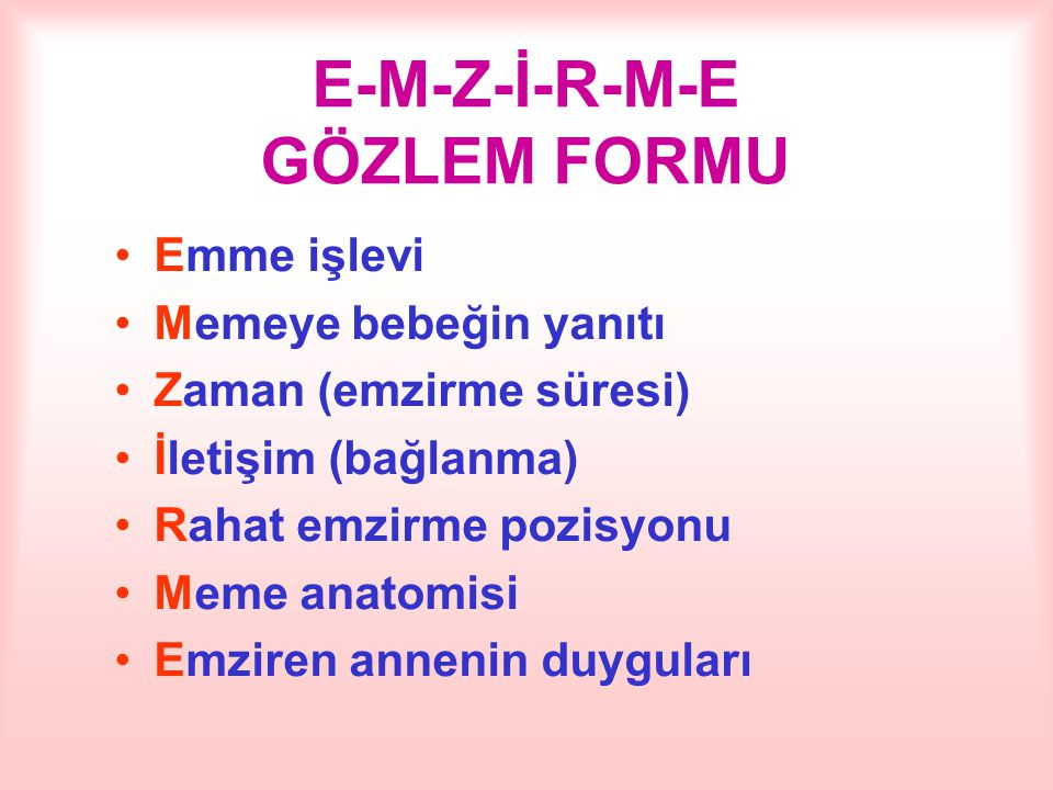 E-M-Z-İ-R-M-E GÖZLEM FORMU