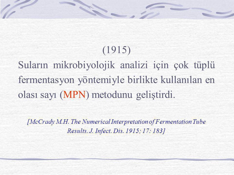 (1915) Suların mikrobiyolojik analizi için çok tüplü fermentasyon yöntemiyle birlikte kullanılan en olası sayı (MPN) metodunu geliştirdi.