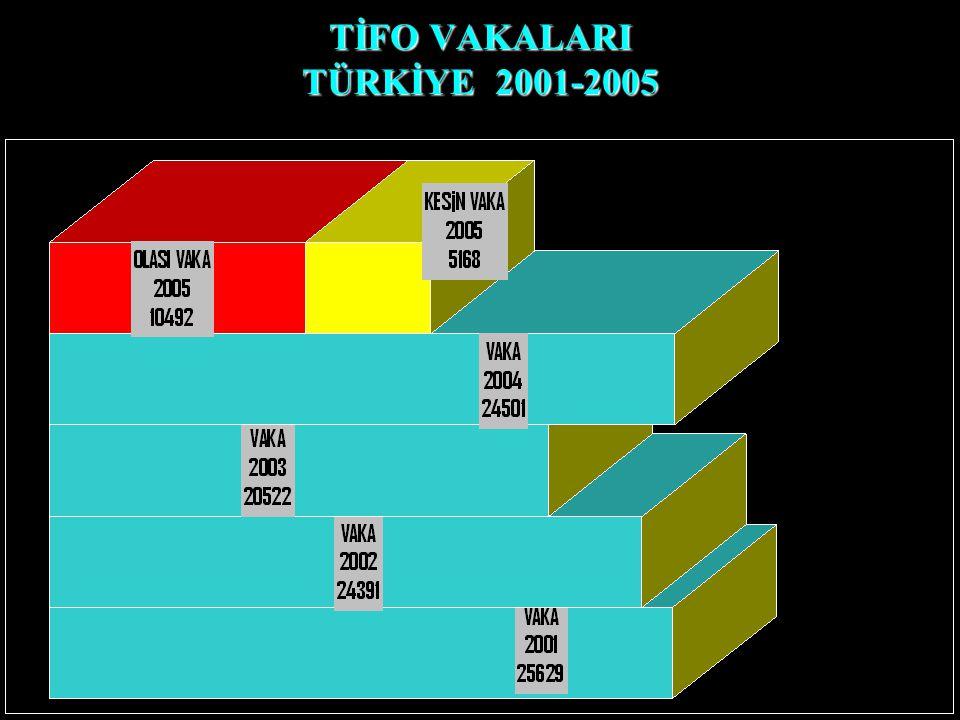 TİFO VAKALARI TÜRKİYE 2001-2005