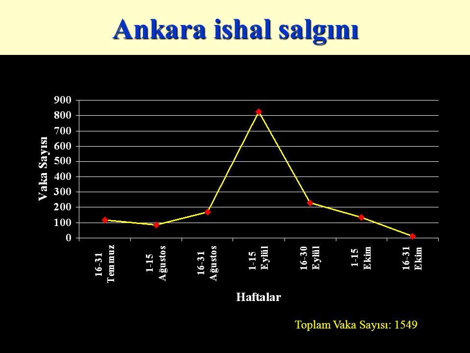 Ankara ishal salgını Toplam Vaka Sayısı: 1549