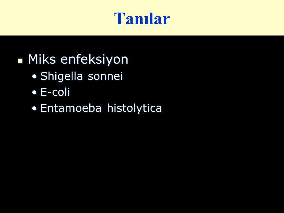Tanılar Miks enfeksiyon Shigella sonnei E-coli Entamoeba histolytica