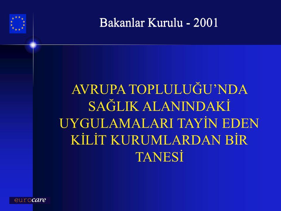 Bakanlar Kurulu - 2001 AVRUPA TOPLULUĞU'NDA SAĞLIK ALANINDAKİ UYGULAMALARI TAYİN EDEN KİLİT KURUMLARDAN BİR TANESİ.