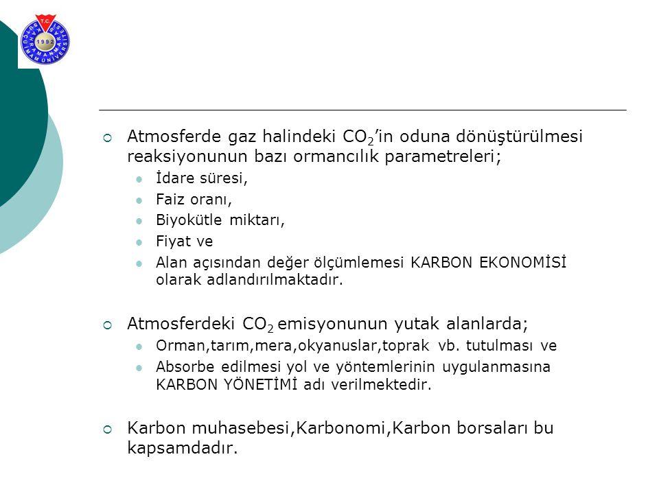 Atmosferdeki CO2 emisyonunun yutak alanlarda;