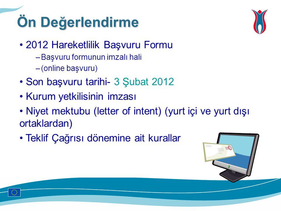 Ön Değerlendirme 2012 Hareketlilik Başvuru Formu