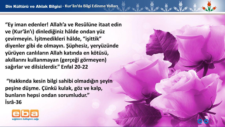 - Kur'ân'da Bilgi Edinme Yolları