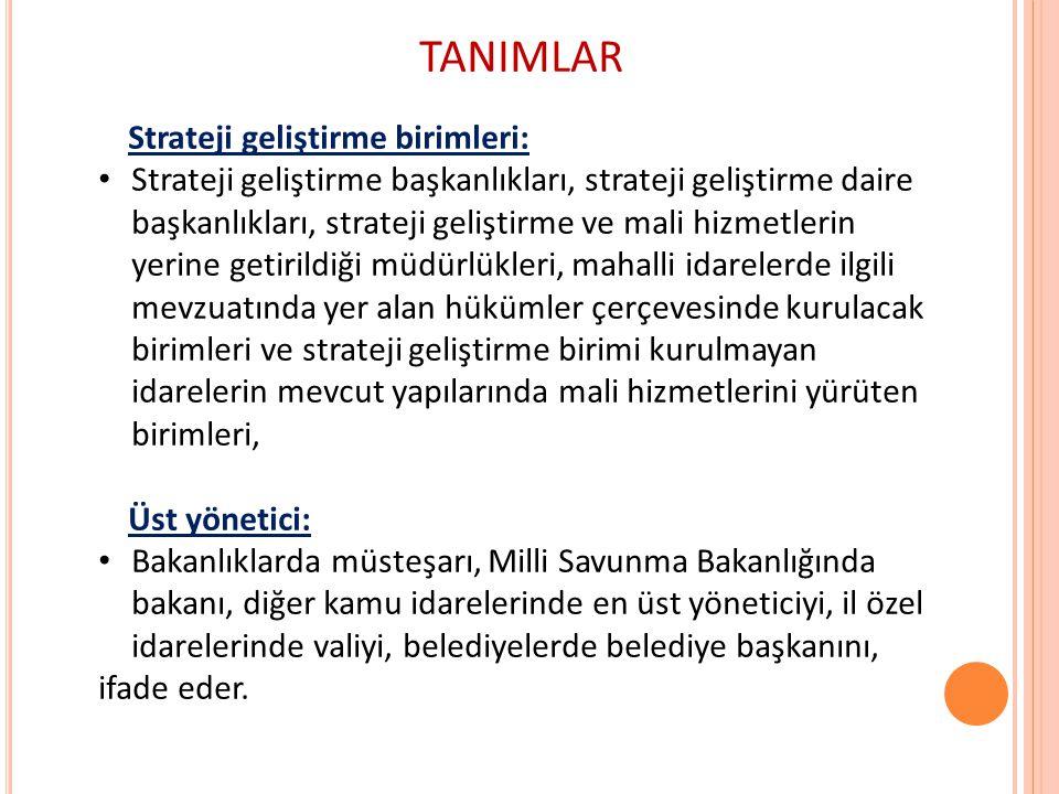TANIMLAR Strateji geliştirme birimleri:
