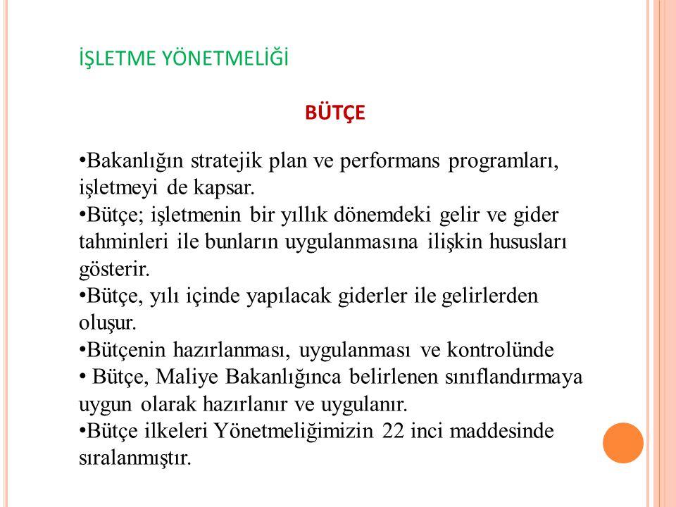 İŞLETME YÖNETMELİĞİ BÜTÇE. Bakanlığın stratejik plan ve performans programları, işletmeyi de kapsar.