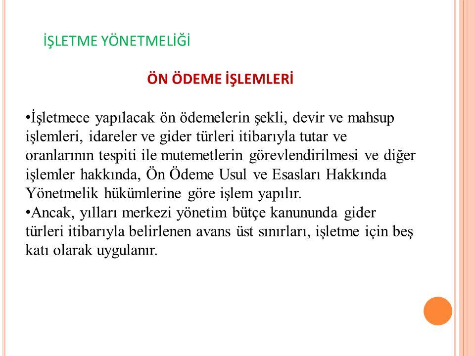 İŞLETME YÖNETMELİĞİ ÖN ÖDEME İŞLEMLERİ.
