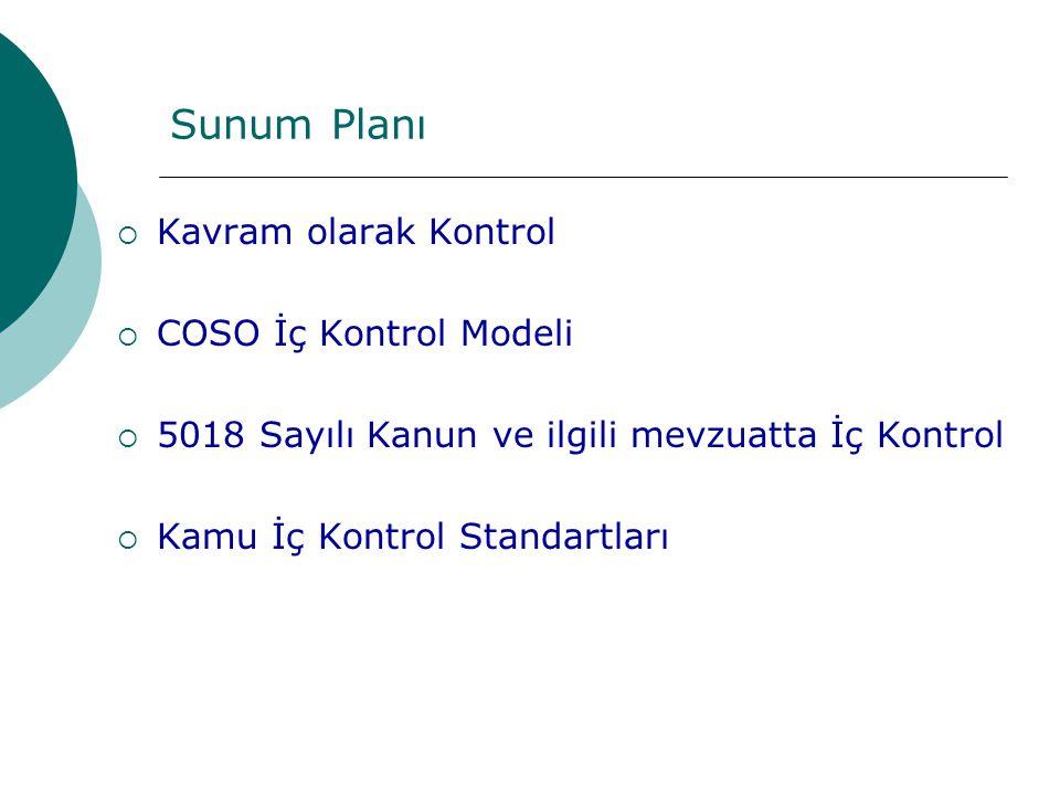 Sunum Planı Kavram olarak Kontrol COSO İç Kontrol Modeli