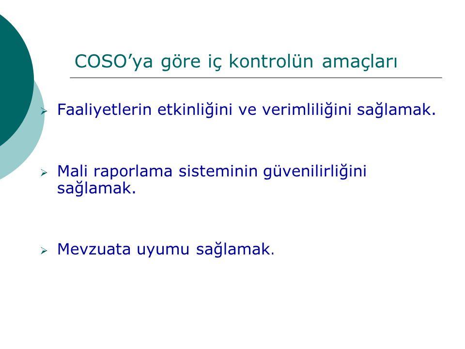COSO'ya göre iç kontrolün amaçları