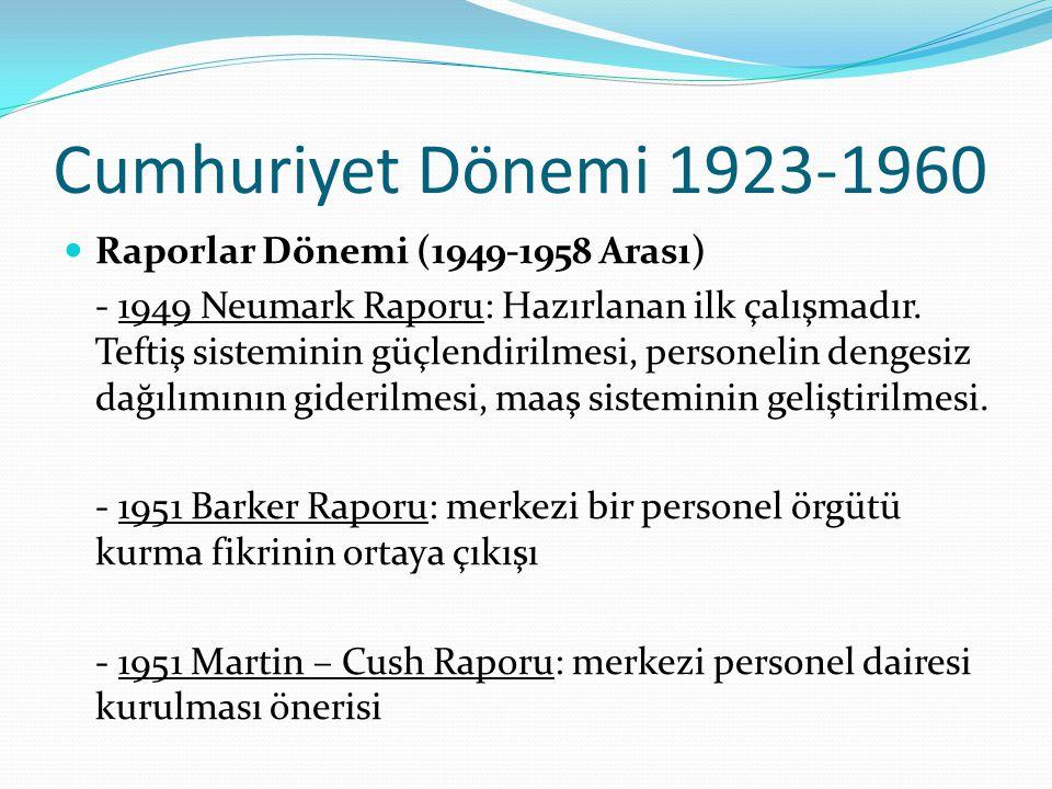 Cumhuriyet Dönemi 1923-1960 Raporlar Dönemi (1949-1958 Arası)