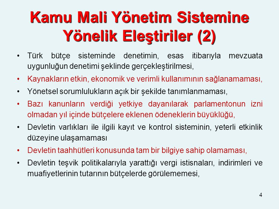 Kamu Mali Yönetim Sistemine Yönelik Eleştiriler (2)