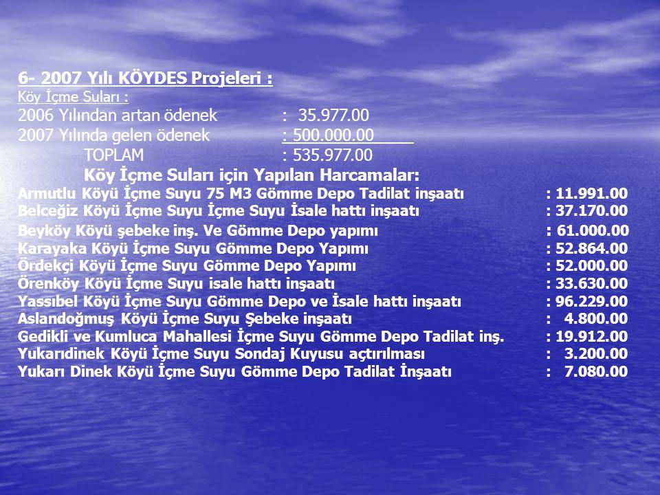 6- 2007 Yılı KÖYDES Projeleri : 2006 Yılından artan ödenek : 35.977.00