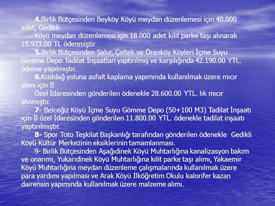 4. Birlik Bütçesinden Beyköy Köyü meydan düzenlemesi için 40