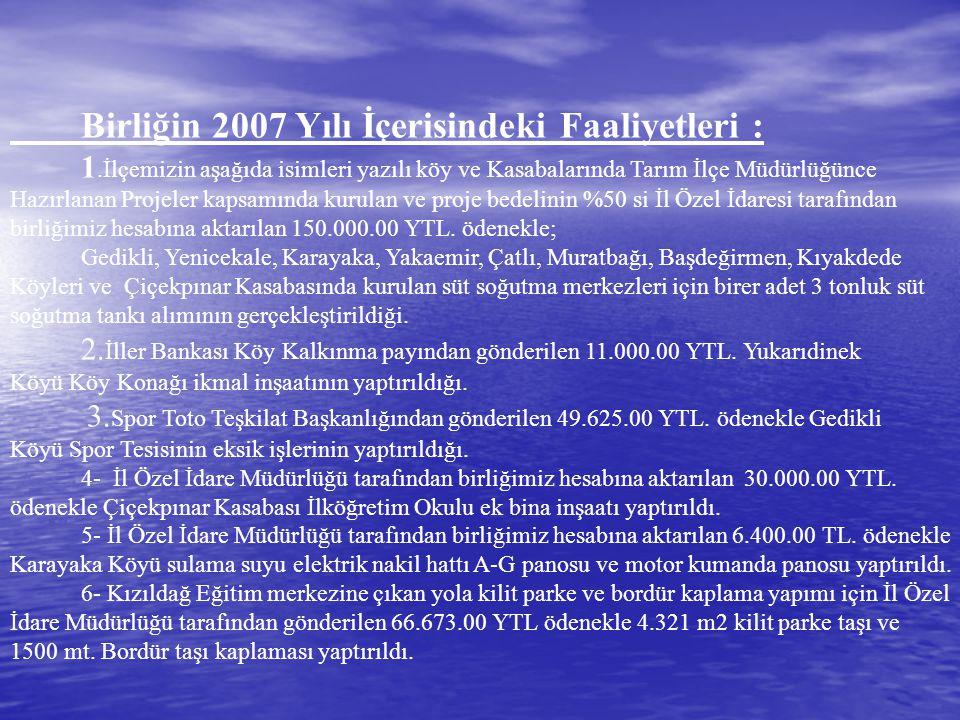 Birliğin 2007 Yılı İçerisindeki Faaliyetleri :