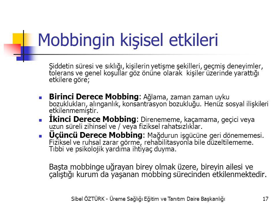 Mobbingin kişisel etkileri