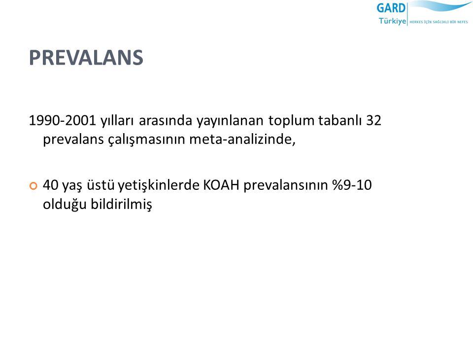 PREVALANS 1990-2001 yılları arasında yayınlanan toplum tabanlı 32 prevalans çalışmasının meta-analizinde,