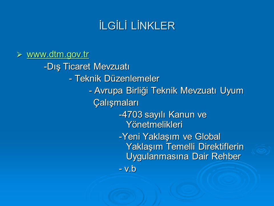 İLGİLİ LİNKLER www.dtm.gov.tr -Dış Ticaret Mevzuatı