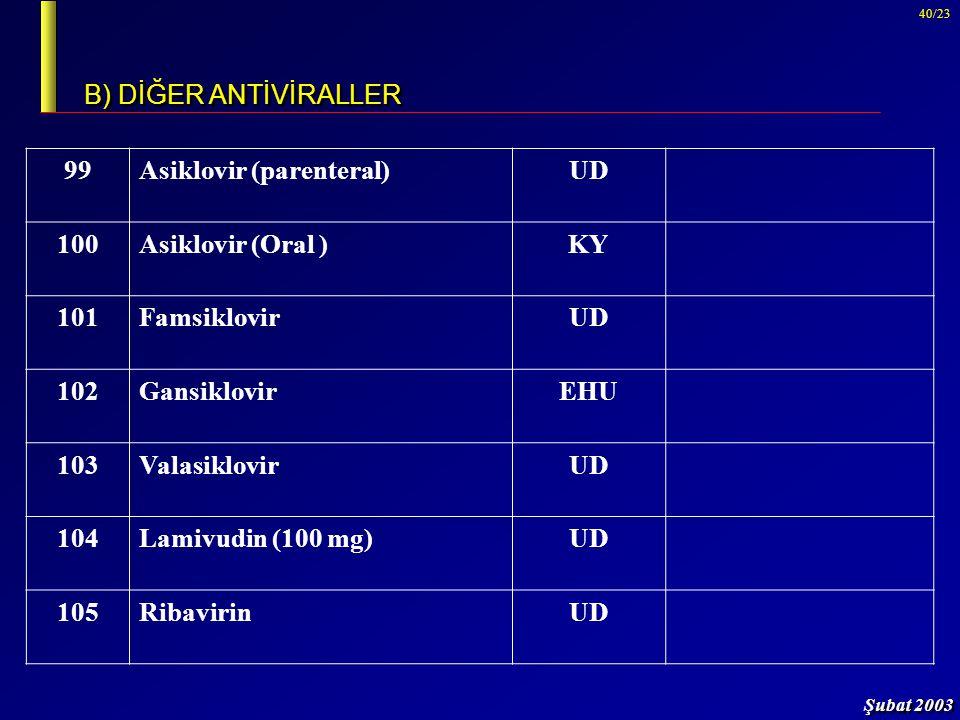 B) DİĞER ANTİVİRALLER 99. Asiklovir (parenteral) UD. 100. Asiklovir (Oral ) KY. 101. Famsiklovir.