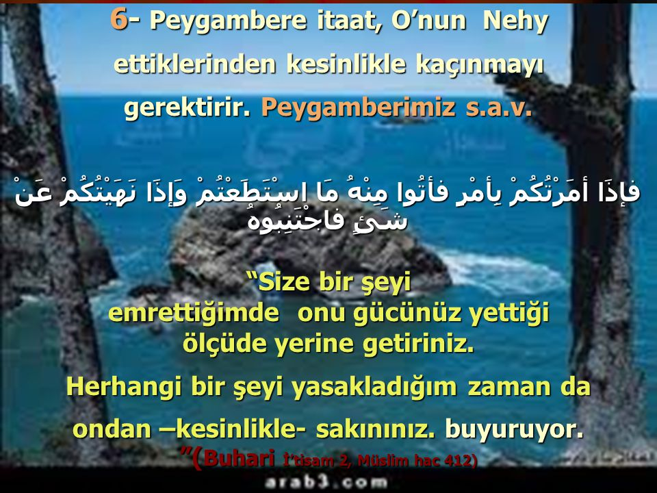 6- Peygambere itaat, O'nun Nehy