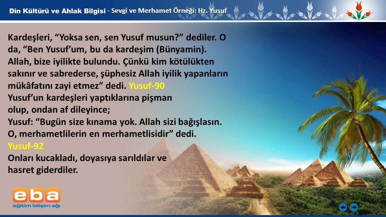 Yusuf'un kardeşleri yaptıklarına pişman olup, ondan af dileyince;