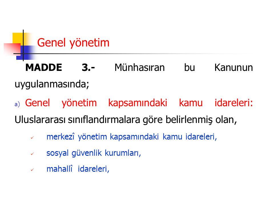 Genel yönetim MADDE 3.- Münhasıran bu Kanunun uygulanmasında;