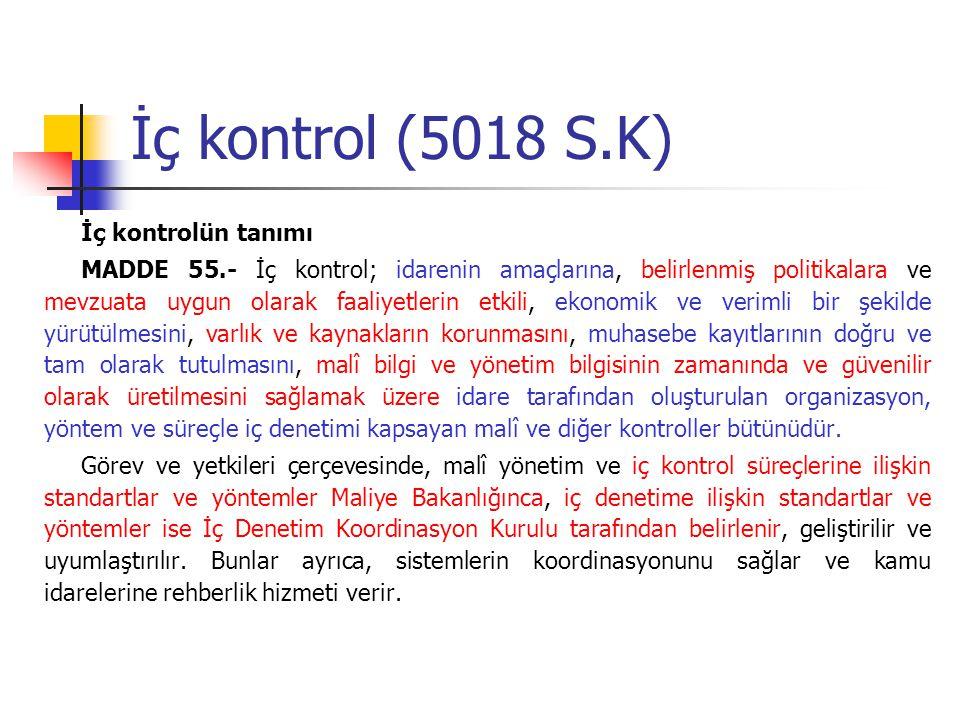 İç kontrol (5018 S.K) İç kontrolün tanımı