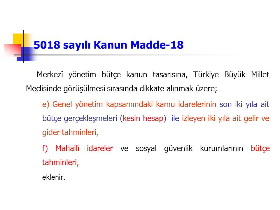 5018 sayılı Kanun Madde-18 Merkezî yönetim bütçe kanun tasarısına, Türkiye Büyük Millet Meclisinde görüşülmesi sırasında dikkate alınmak üzere;