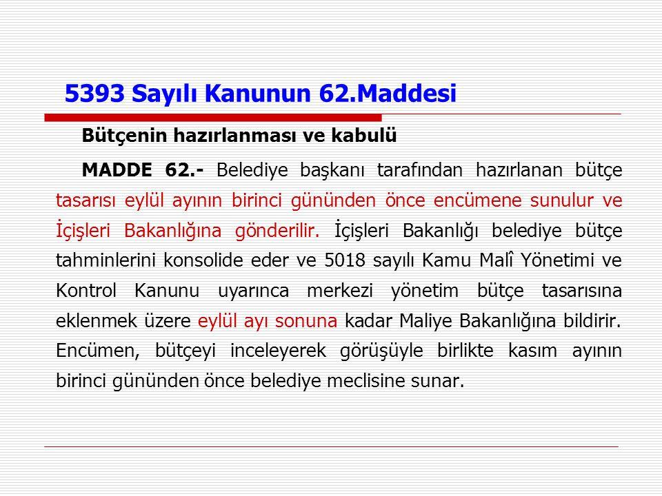 5393 Sayılı Kanunun 62.Maddesi