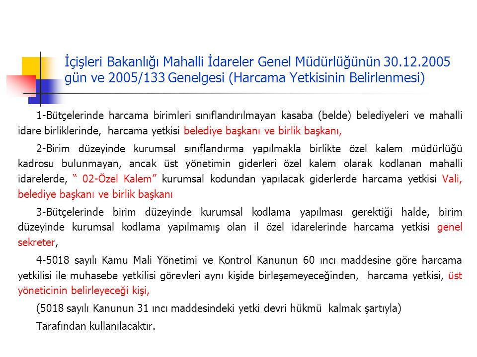 İçişleri Bakanlığı Mahalli İdareler Genel Müdürlüğünün 30. 12