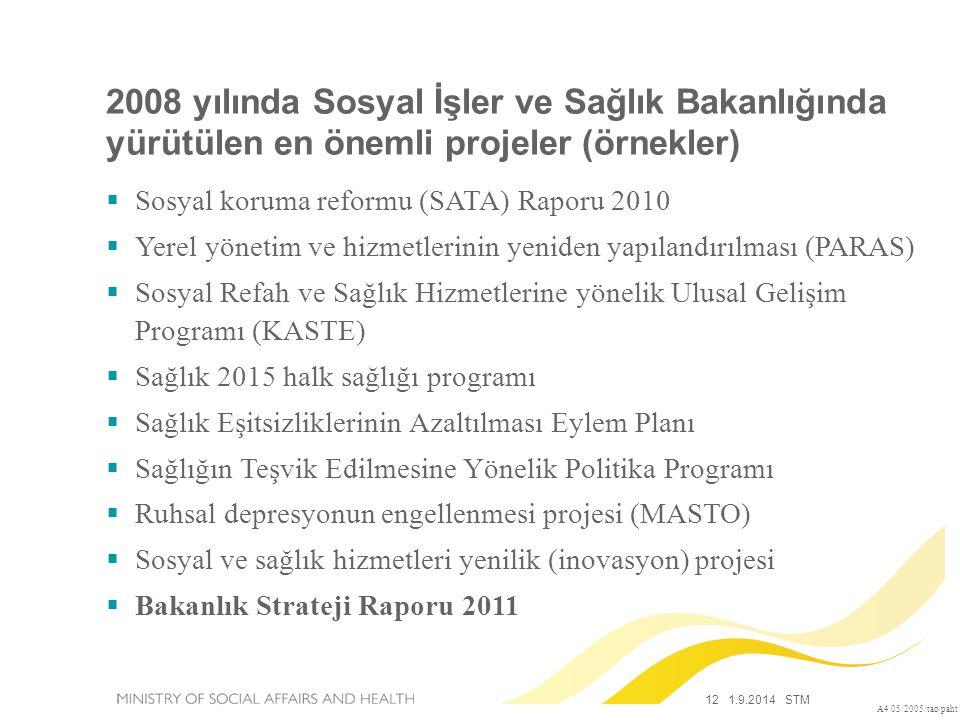2008 yılında Sosyal İşler ve Sağlık Bakanlığında yürütülen en önemli projeler (örnekler)