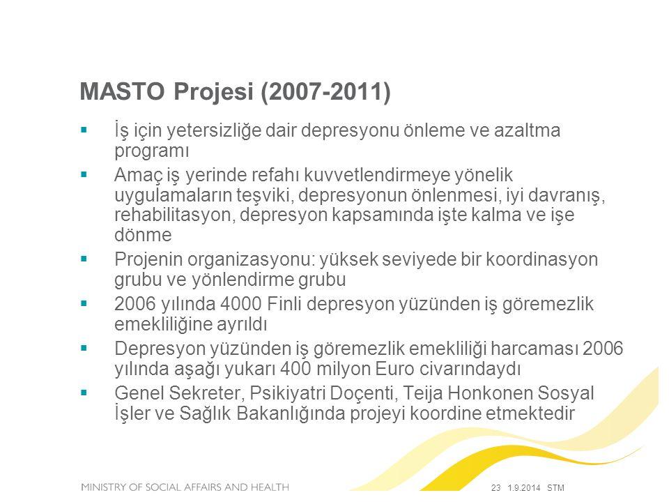MASTO Projesi (2007-2011) İş için yetersizliğe dair depresyonu önleme ve azaltma programı.