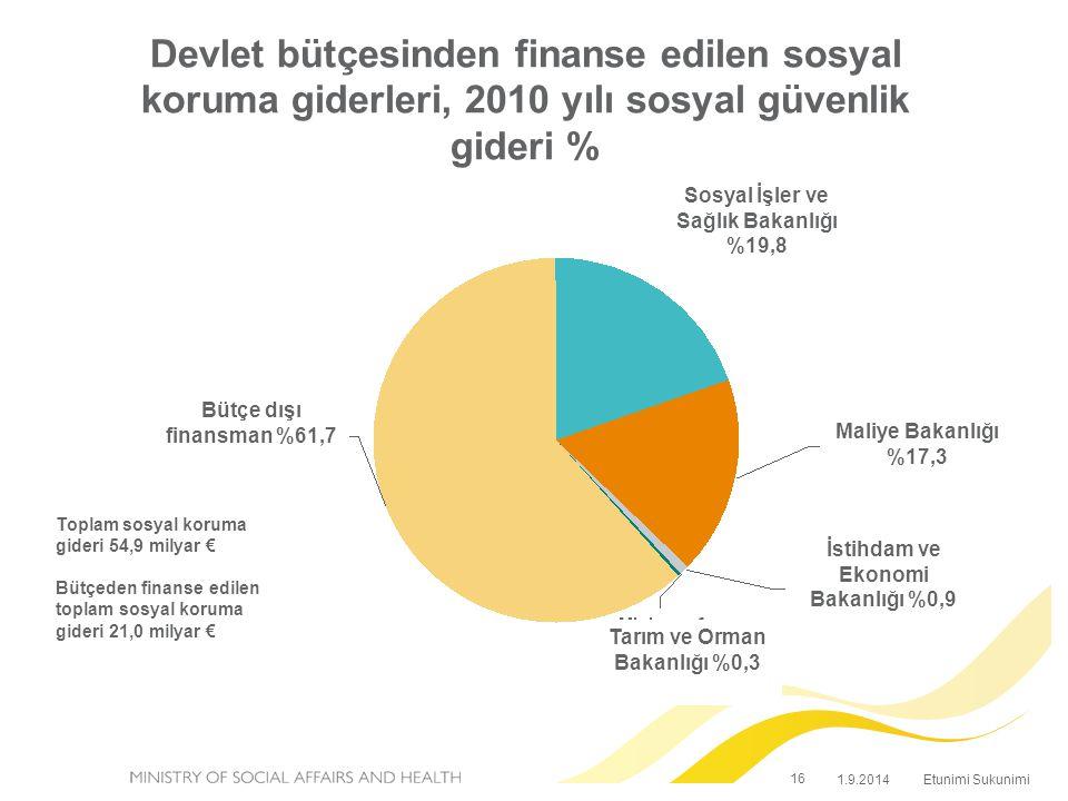 Devlet bütçesinden finanse edilen sosyal koruma giderleri, 2010 yılı sosyal güvenlik gideri %