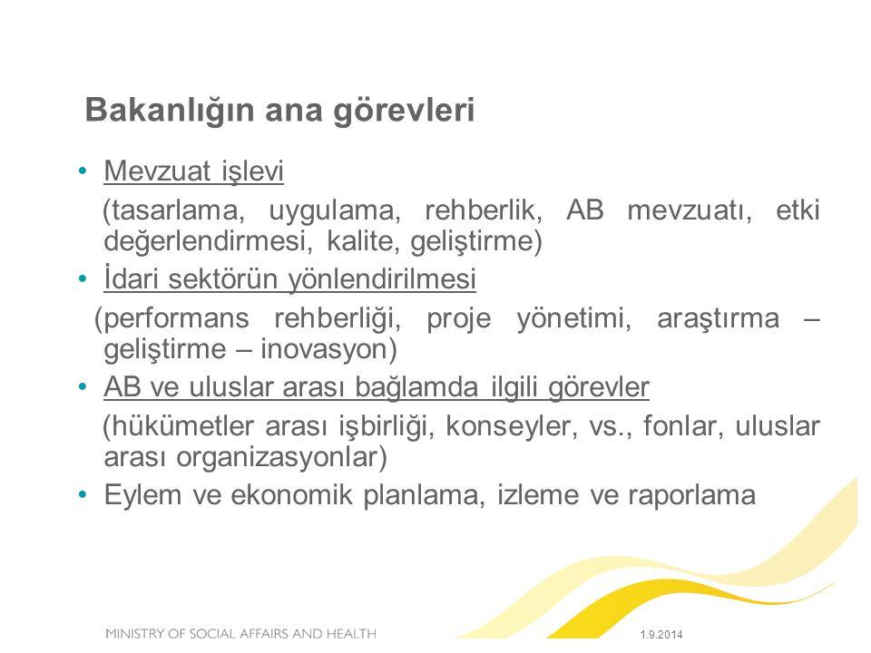 Bakanlığın ana görevleri