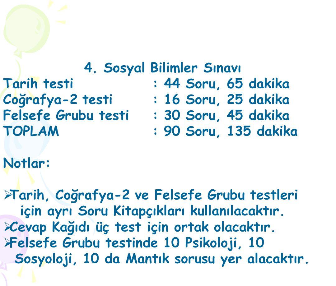 4. Sosyal Bilimler Sınavı