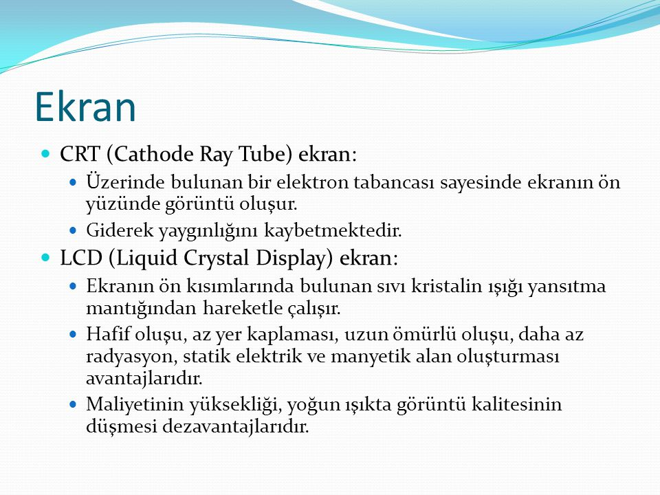 Ekran CRT (Cathode Ray Tube) ekran: