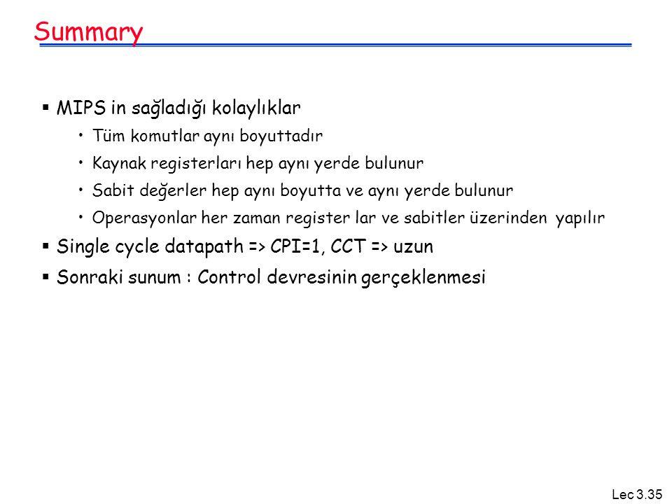 Summary MIPS in sağladığı kolaylıklar