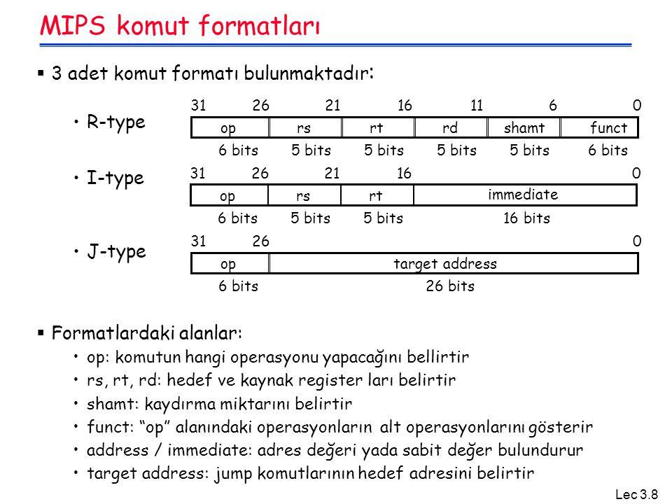 MIPS komut formatları 3 adet komut formatı bulunmaktadır: R-type