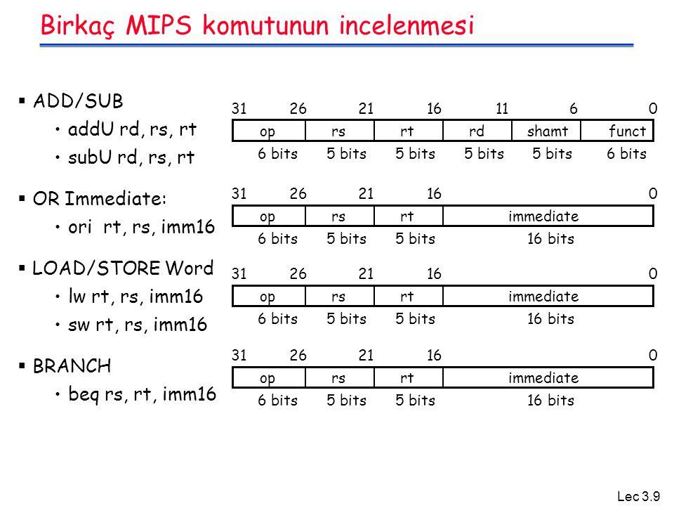 Birkaç MIPS komutunun incelenmesi