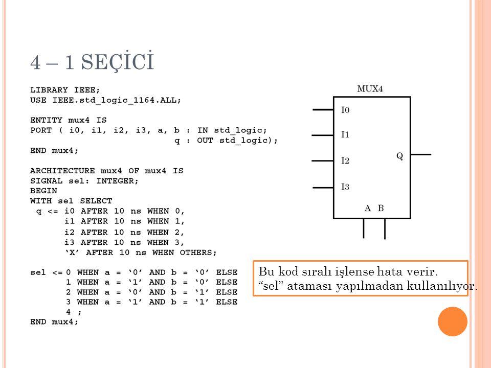 4 – 1 SEÇİCİ Bu kod sıralı işlense hata verir.