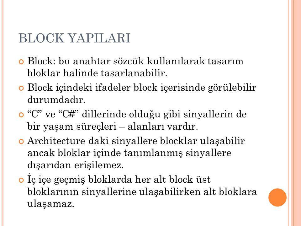 BLOCK YAPILARI Block: bu anahtar sözcük kullanılarak tasarım bloklar halinde tasarlanabilir.