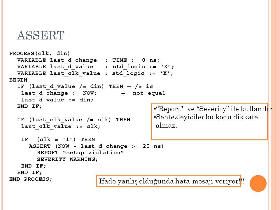 ASSERT Report ve Severity ile kullanılır.